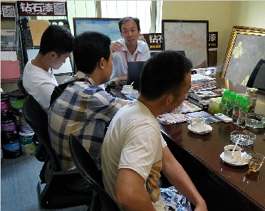 欢迎贺州和重庆的客户莅临美国钻石涂料进行合作洽谈